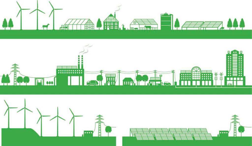 venta de energía abasto aislado en un diagrama tanto para una industria y un parque industrial